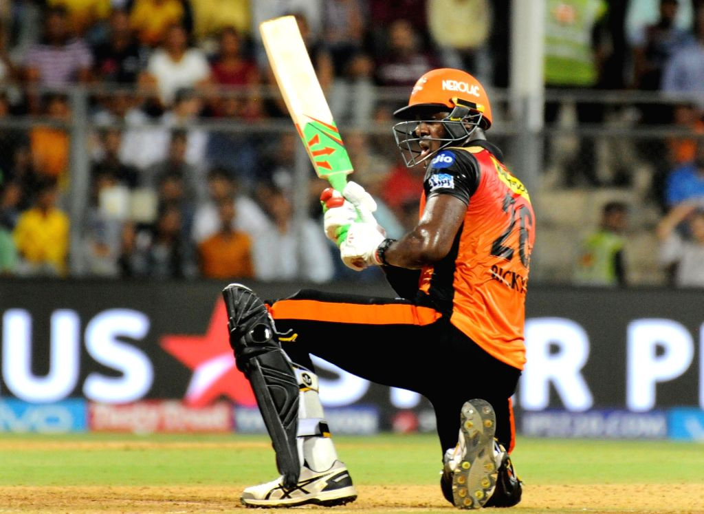 Sunrisers Hyderabad's Carlos Brathwaite in action during the first qualifier match of IPL 2018 between Chennai Super Kings and Sunrisers Hyderabad at Wankhede Stadium in Mumbai on May 22, ...
