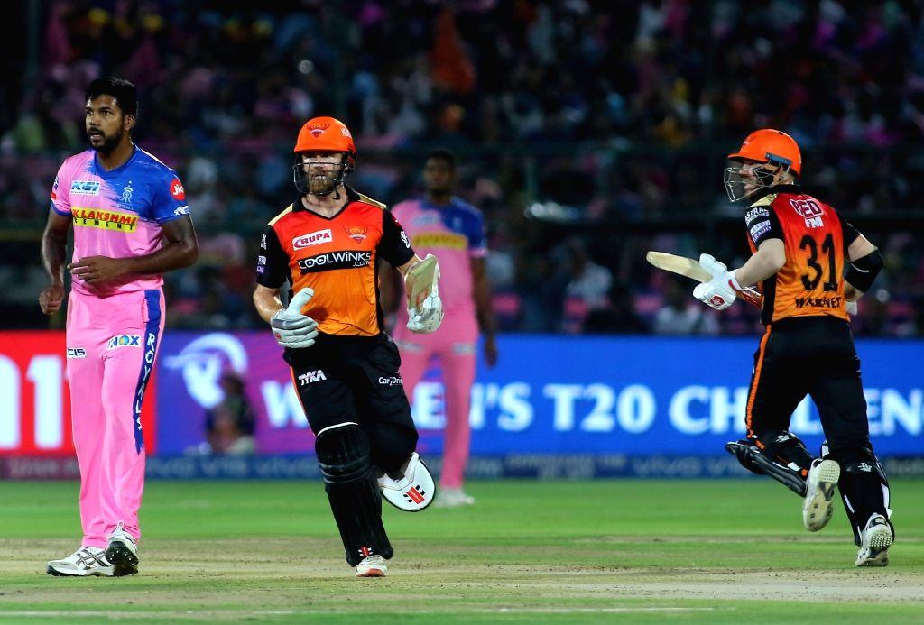 Sunrisers Hyderabad's David Warner and Kane Williamson in action during the 45th match of IPL 2019 between Rajasthan Royals and Sunrisers Hyderabad at Sawai Mansingh Stadium in Jaipur, on ...