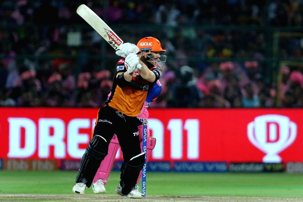Sunrisers Hyderabad's David Warner in action during the 45th match of IPL 2019 between Rajasthan Royals and Sunrisers Hyderabad at Sawai Mansingh Stadium in Jaipur, on April 27, 2019.