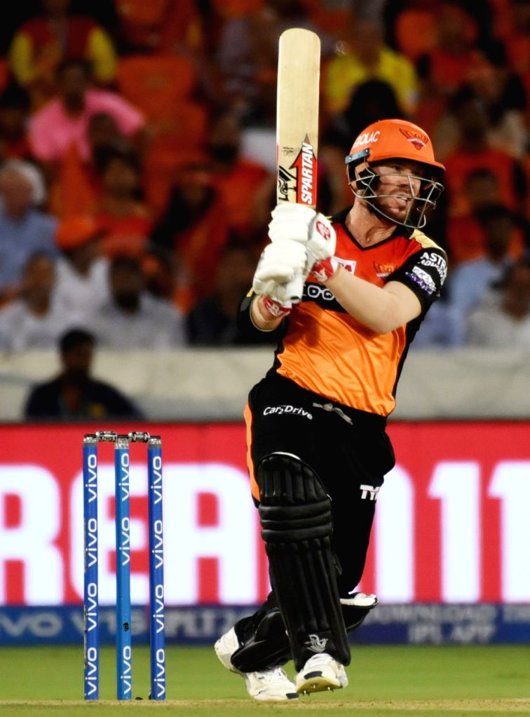 Sunrisers Hyderabad's David Warner in action during the 48th match of IPL 2019 between Sunrisers Hyderabad and Kings XI Punjab at Rajiv Gandhi International Stadium in Hyderabad, on April ...