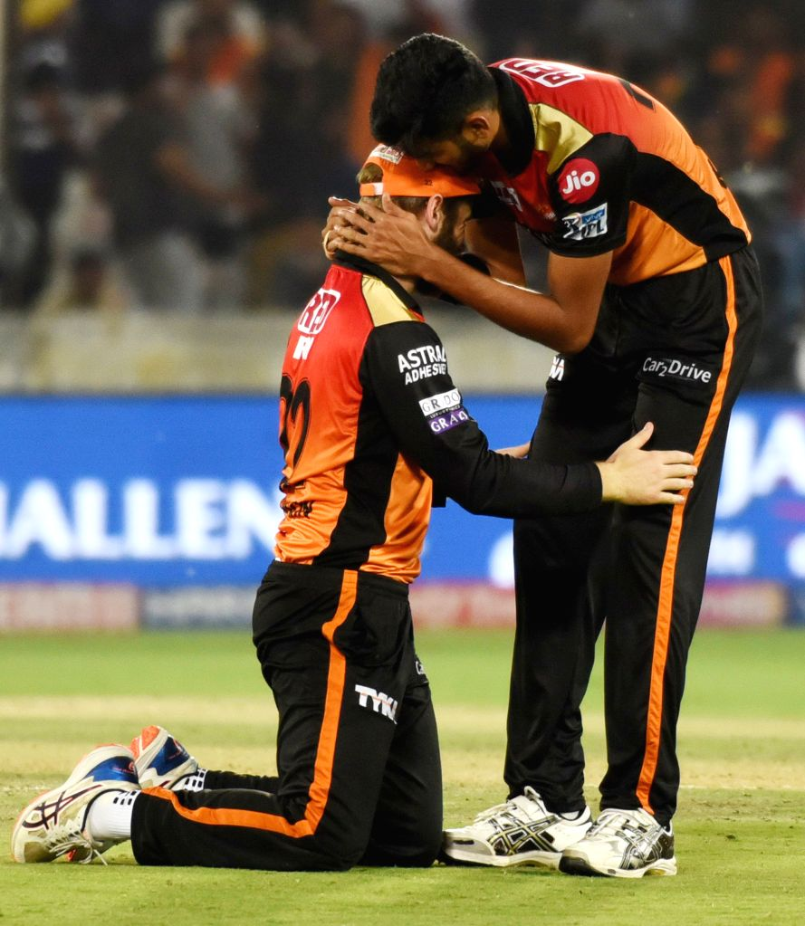 Sunrisers Hyderabad's Kane Williamson and Khaleel Ahmed during the 48th match of IPL 2019 between Sunrisers Hyderabad and Kings XI Punjab at Rajiv Gandhi International Stadium in ...