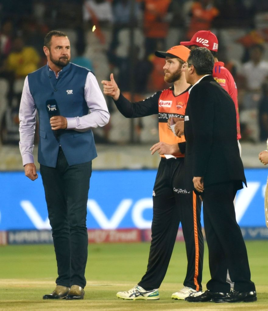 Sunrisers Hyderabad's Kane Williamson and Kings XI Punjab's Ravichandran Ashwin during the toss ahead of the 48th match of IPL 2019 at Rajiv Gandhi International Stadium in Hyderabad, on ...