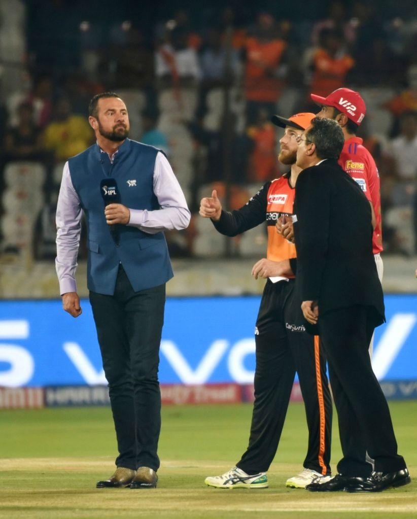 Sunrisers Hyderabad's Kane Williamson and Kings XI Punjab's Ravichandran Ashwin during the toss ahead of the 48th match of IPL 2019 at Rajiv Gandhi International Stadium in Hyderabad, on ...