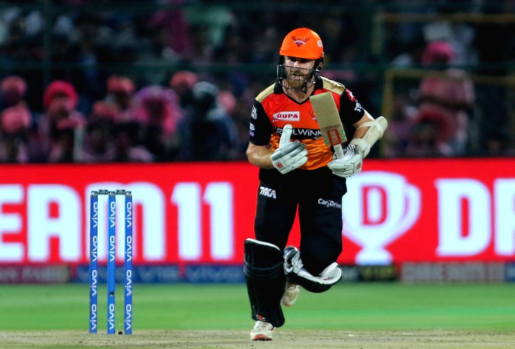 Sunrisers Hyderabad's Kane Williamson in action during the 45th match of IPL 2019 between Rajasthan Royals and Sunrisers Hyderabad at Sawai Mansingh Stadium in Jaipur, on April 27, 2019.