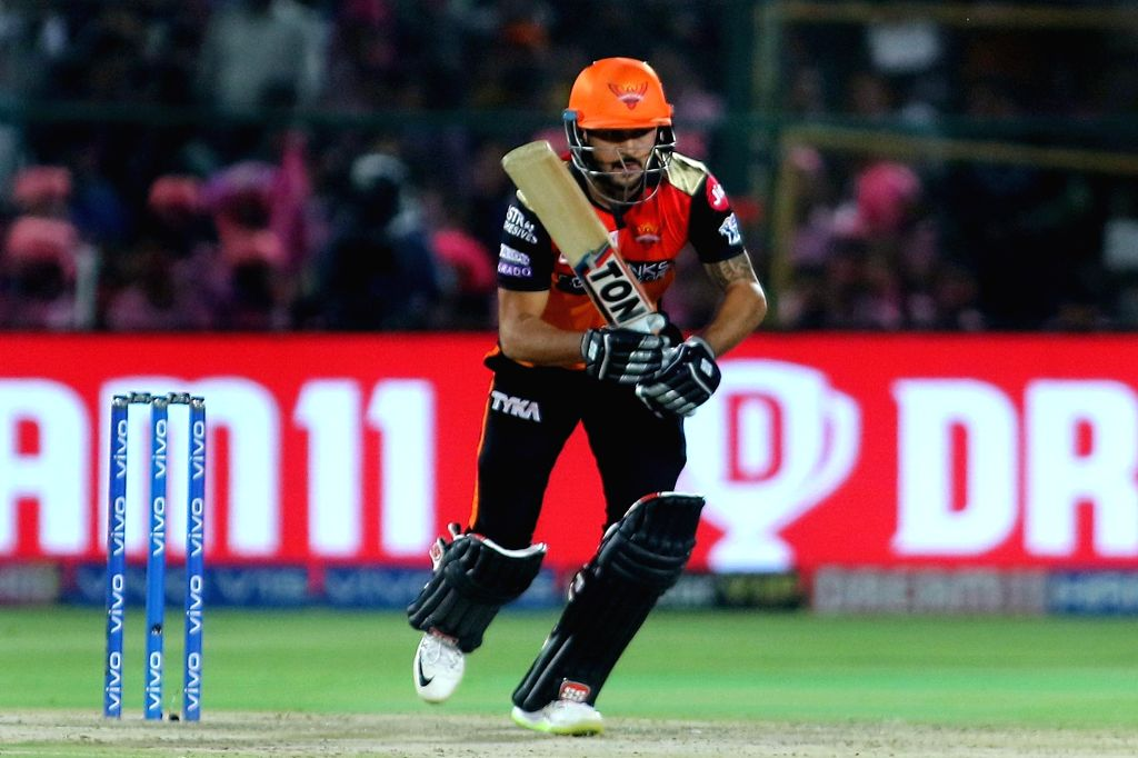 Sunrisers Hyderabad's Manish Pandey in action during the 45th match of IPL 2019 between Rajasthan Royals and Sunrisers Hyderabad at Sawai Mansingh Stadium in Jaipur, on April 27, 2019. - Manish Pandey