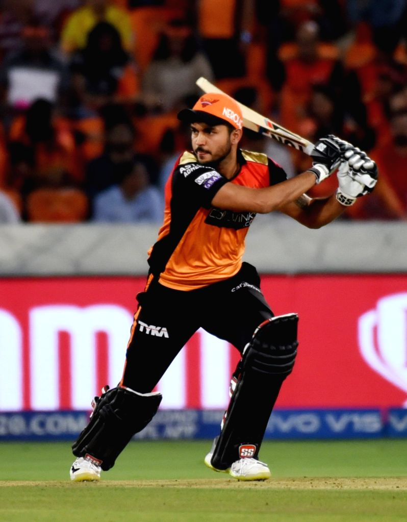 Sunrisers Hyderabad's Manish Pandey in action during the 48th match of IPL 2019 between Sunrisers Hyderabad and Kings XI Punjab at Rajiv Gandhi International Stadium in Hyderabad, on April ... - Manish Pandey