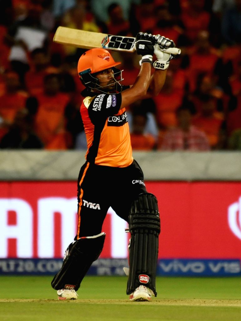 Sunrisers Hyderabad's Wriddhiman Saha in action during the 48th match of IPL 2019 between Sunrisers Hyderabad and Kings XI Punjab at Rajiv Gandhi International Stadium in Hyderabad, on ...