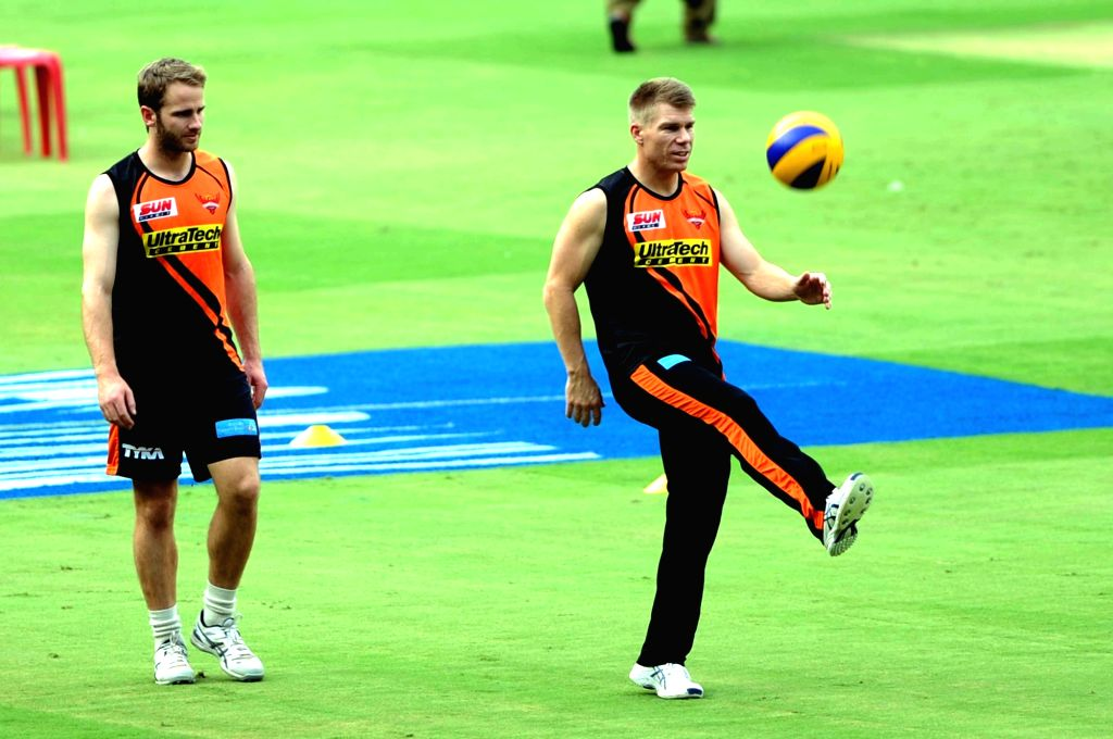 Sunrisers Hyderabad skipper David Warner and Kane Williamson during a practice session ahead of their playoff match against Kolkata Knight Riders at Chinnaswamy Stadium in Bengaluru on May ...