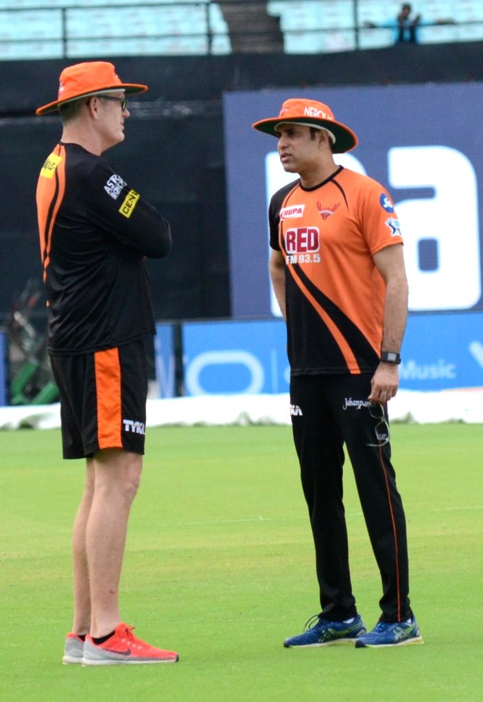 Sunrisers Hyderabad (SRH) coach Tom Moody and mentor VVS Laxman during a practice session, at the Eden Gardens in Kolkata on May 24, 2018.