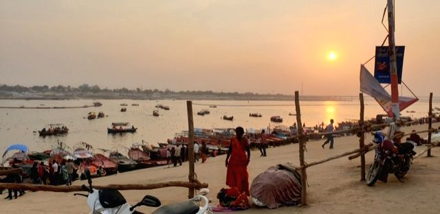 Sunset as seen from the banks of the Ganga river in Prayagraj.