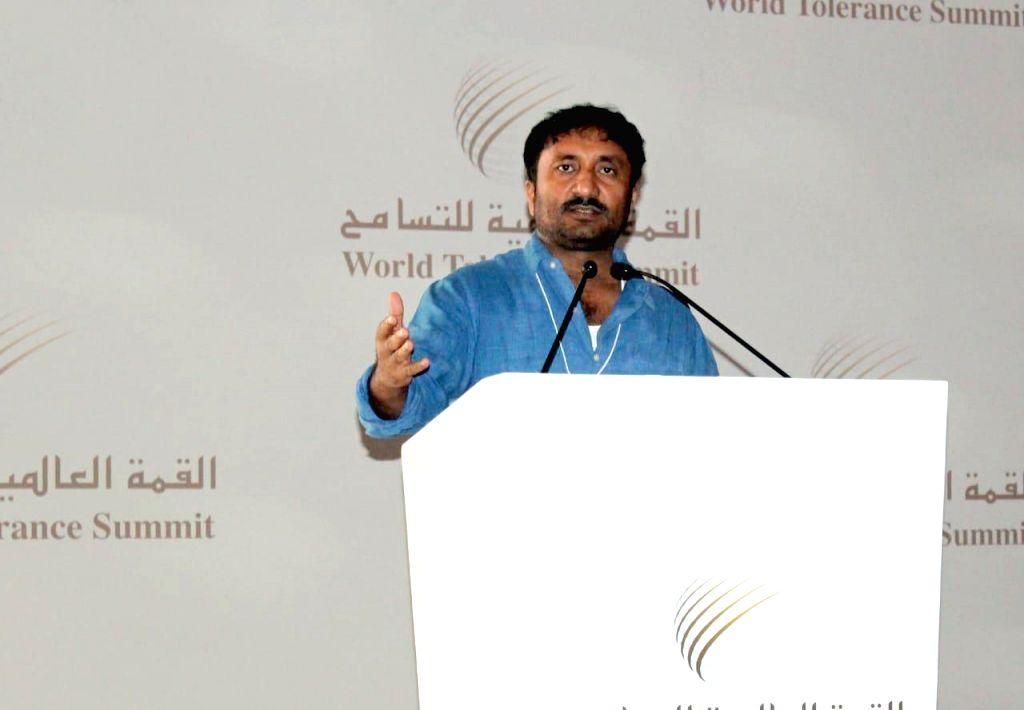 Super 30 founder Anand Kumar addresses at the World Tolerance Summit in Dubai on Nov 13, 2019. - Anand Kumar