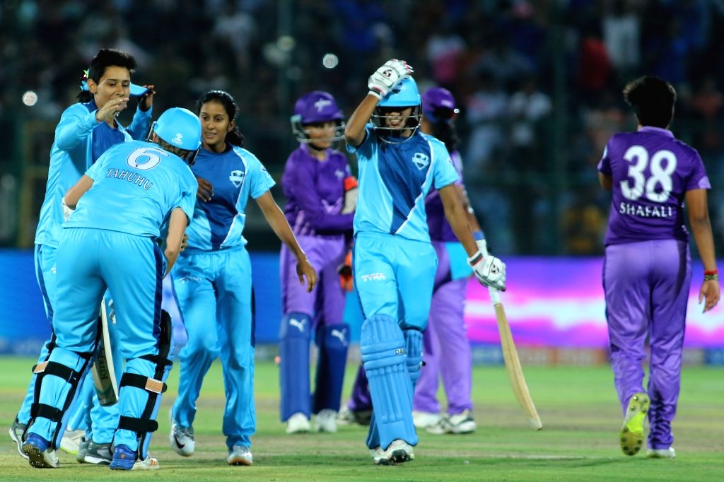 Supernovas celebrate after winning the final match of Women's T20 Challenge 2019 against Velocity at Sawai Mansingh Stadium in Jaipur, on May 11, 2019.