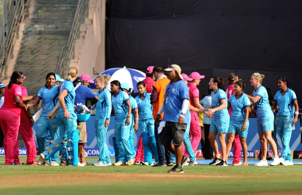 Supernovas celebrate after winning the Women's T20 Challenge Match 2018 against Trailblazers at Wankhede Stadium in Mumbai on May 22, 2018.
