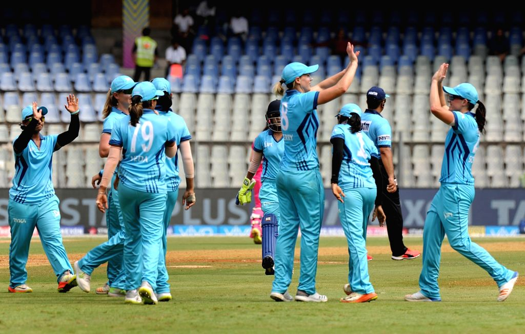 Supernovas celebrate fall of a wicket during Women's T20 Challenge Match 2018 between Trailblazers and Supernovas at Wankhede Stadium in Mumbai on May 22, 2018.