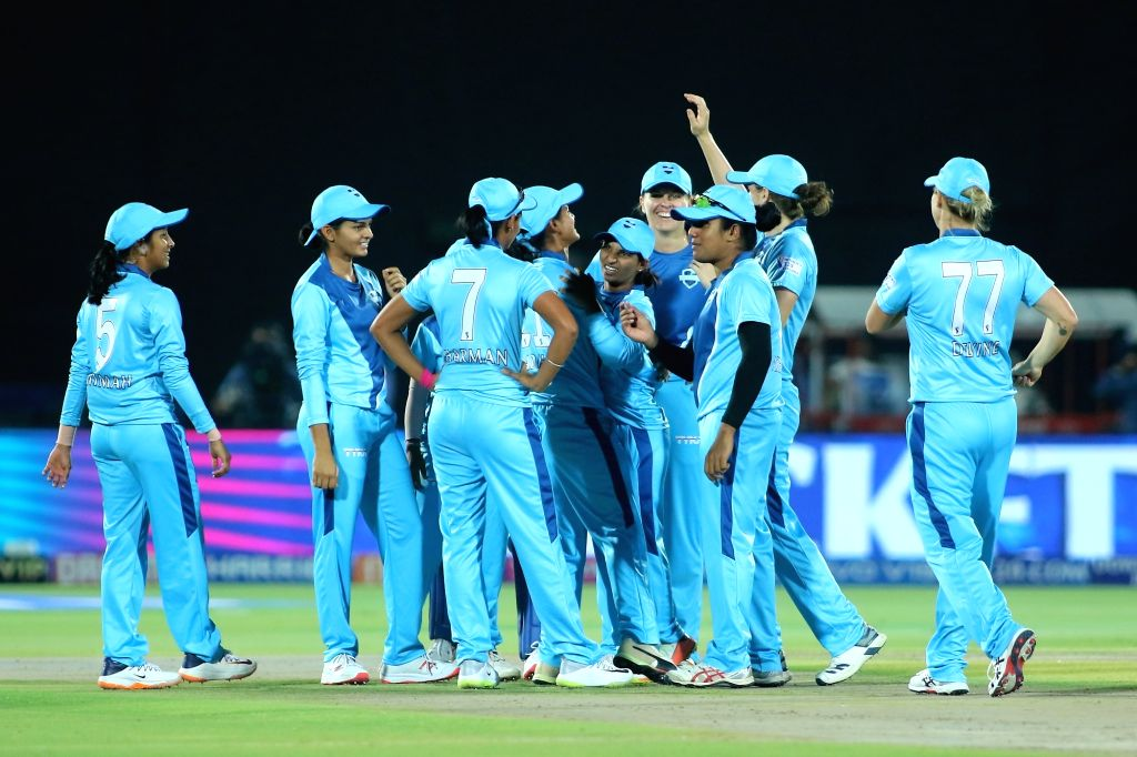 Supernovas celebrate fall of a wicket during the final match of Women's T20 Challenge 2019 between Supernovas and Velocity at Sawai Mansingh Stadium in Jaipur, on May 11, 2019.