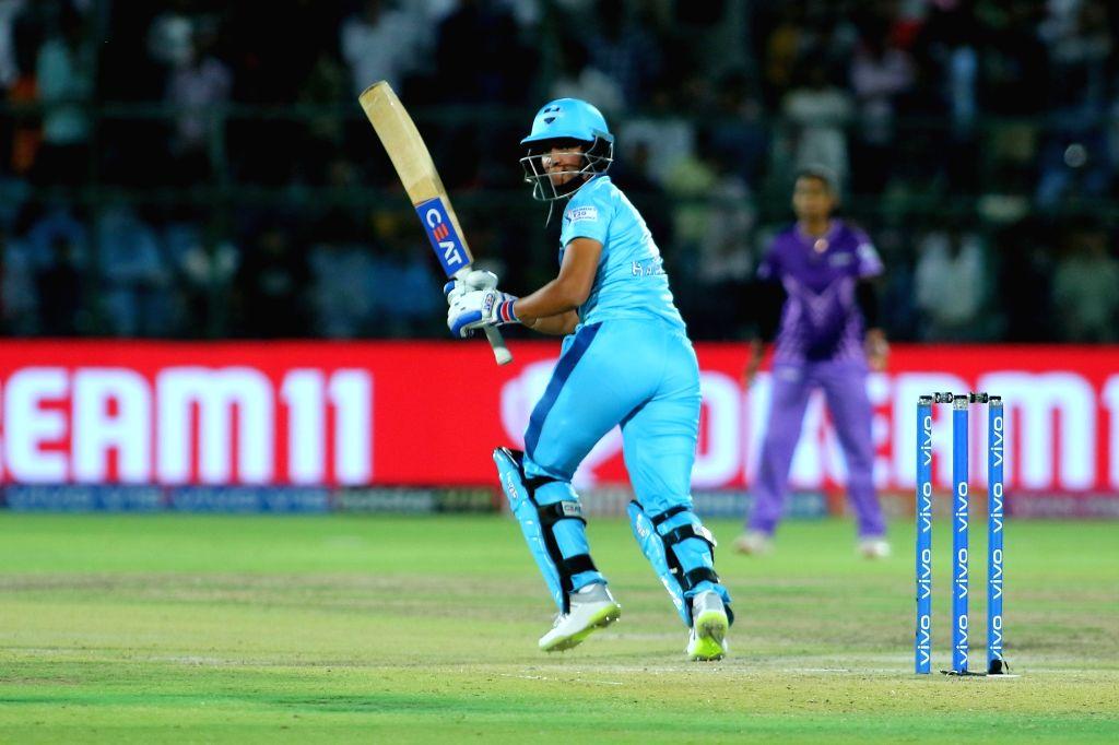 Supernovas' Harmanpreet Kaur in action during the final match of Women's T20 Challenge 2019 between Supernovas and Velocity at Sawai Mansingh Stadium in Jaipur, on May 11, 2019. - Harmanpreet Kaur