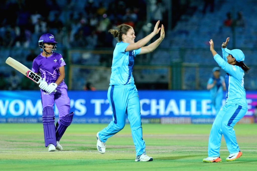 Supernovas' Lea Tahuhu celebrates fall of a wicket during the final match of Women's T20 Challenge 2019 between Supernovas and Velocity at Sawai Mansingh Stadium in Jaipur, on May 11, 2019.