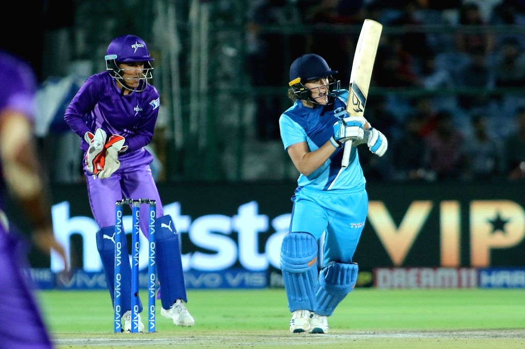 Supernovas' Natalie Sciver in action during the final match of Women's T20 Challenge 2019 between Supernovas and Velocity at Sawai Mansingh Stadium in Jaipur, on May 11, 2019.