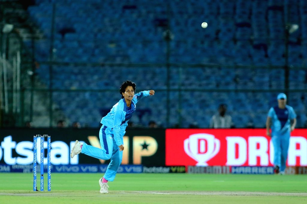 Supernovas' Poonam Yadav in action during the 1st match of Women's T20 Challenge 2019 between Trailblazers and Supernovas at Sawai Mansingh Stadium in Jaipur, on May 6, 2019. - Poonam Yadav