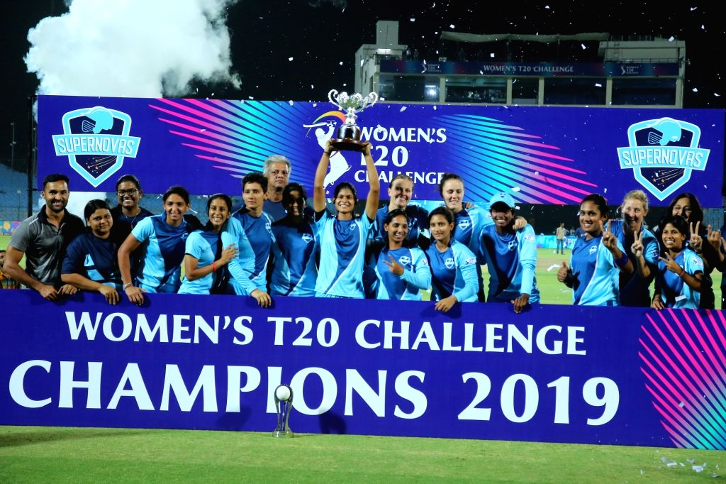 Supernovas pose with the trophy after winning the final match of Women's T20 Challenge 2019 against Velocity at Sawai Mansingh Stadium in Jaipur, on May 11, 2019.