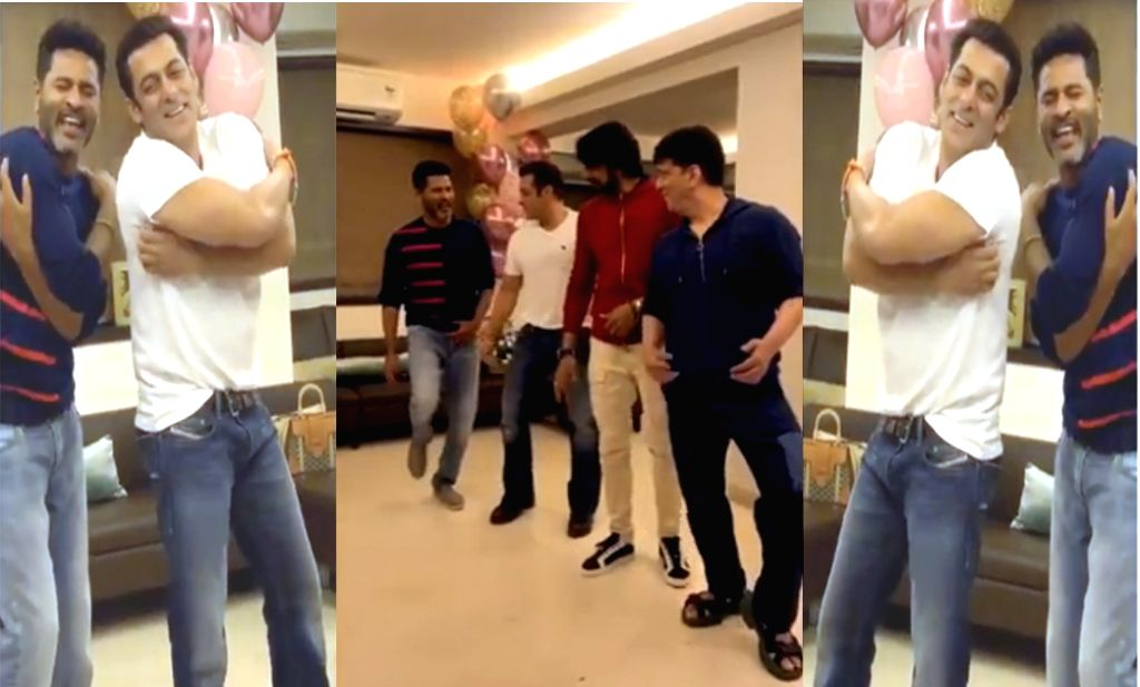 "Superstar Salman Khan has shared a video of himself dancing to the tunes of ""Urvasi urvasi"" with dance icon Prabhudheva. Actor Kichcha Sudeep of ""Eega"" and filmmaker Sajid Nadiadwala are also seen shaking legs with the ""Dabangg"" star in the video sha - Kichcha Sudeep and Salman Khan"