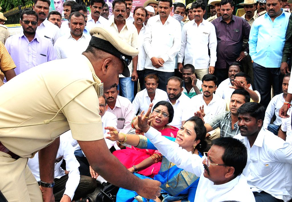 Supporter of Congress MLA Satish Jarkiholi stage a demonstration to demand a ministry for him in Bengaluru, on June 6, 2018.