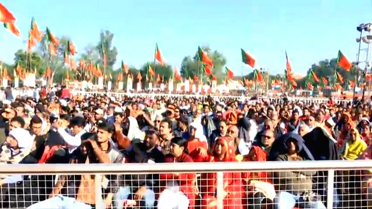 Supporters attend at the Union Home Minister Amit Shah's rally as a part of the Bharatiya Janata Party's (BJP) campaign to create awareness about the Citizenship Amendment Act (CAA), at ... - Amit Shah