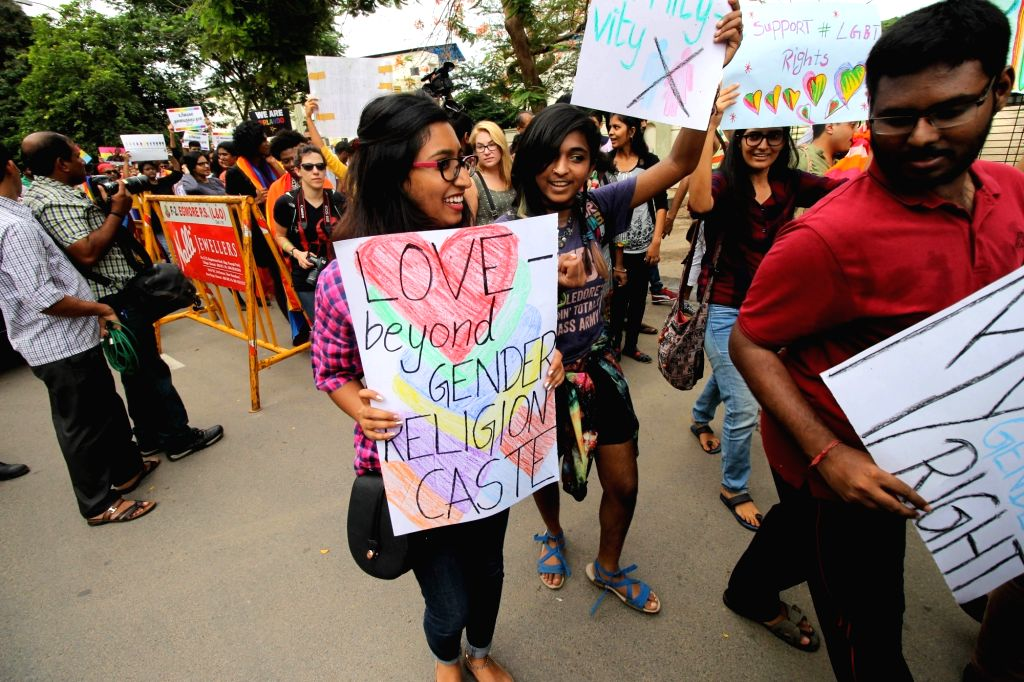 Supporters of LGBT community participate in pride march in Chennai on June 26, 2016.