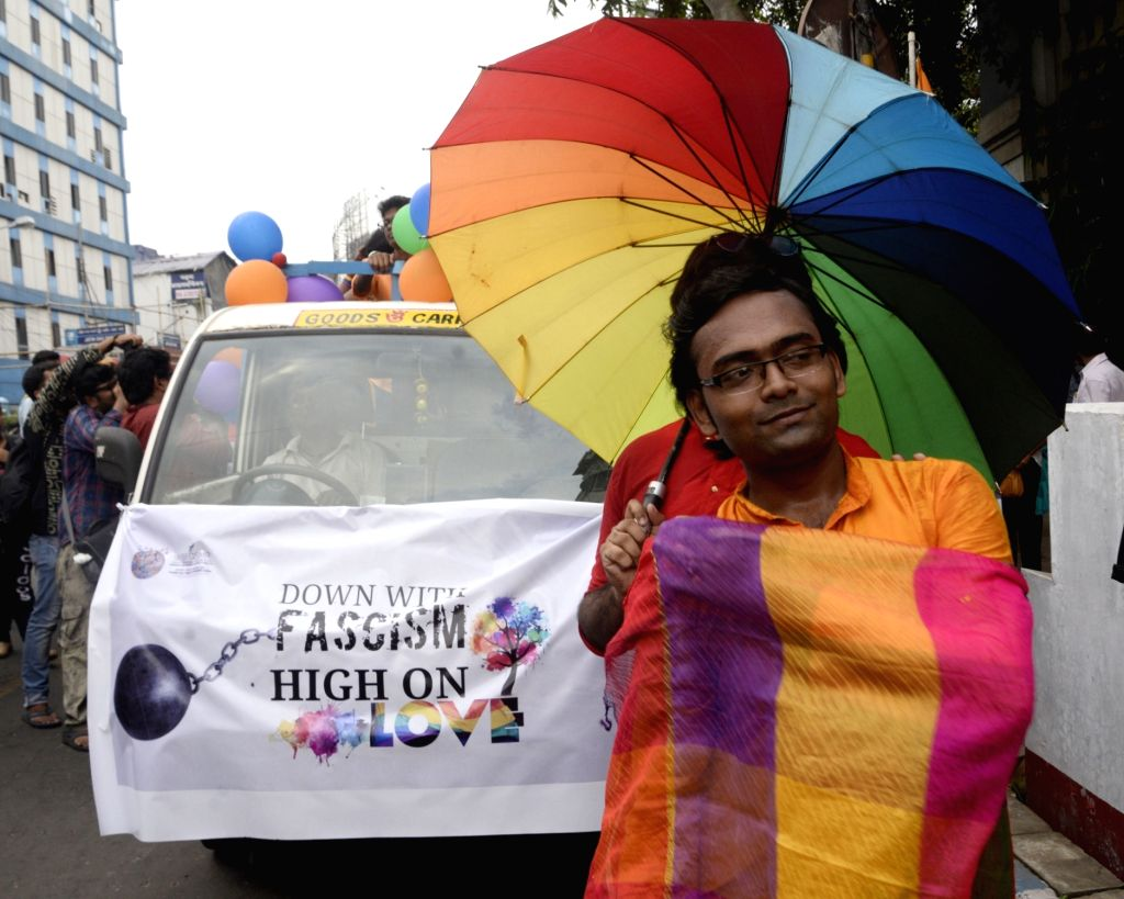 Supporters of LGBTIQ participate in a queer parade organised to welcome Supreme Court's landmark decision that decriminalised homosexuality by declaring Section 377, the penal provision ...