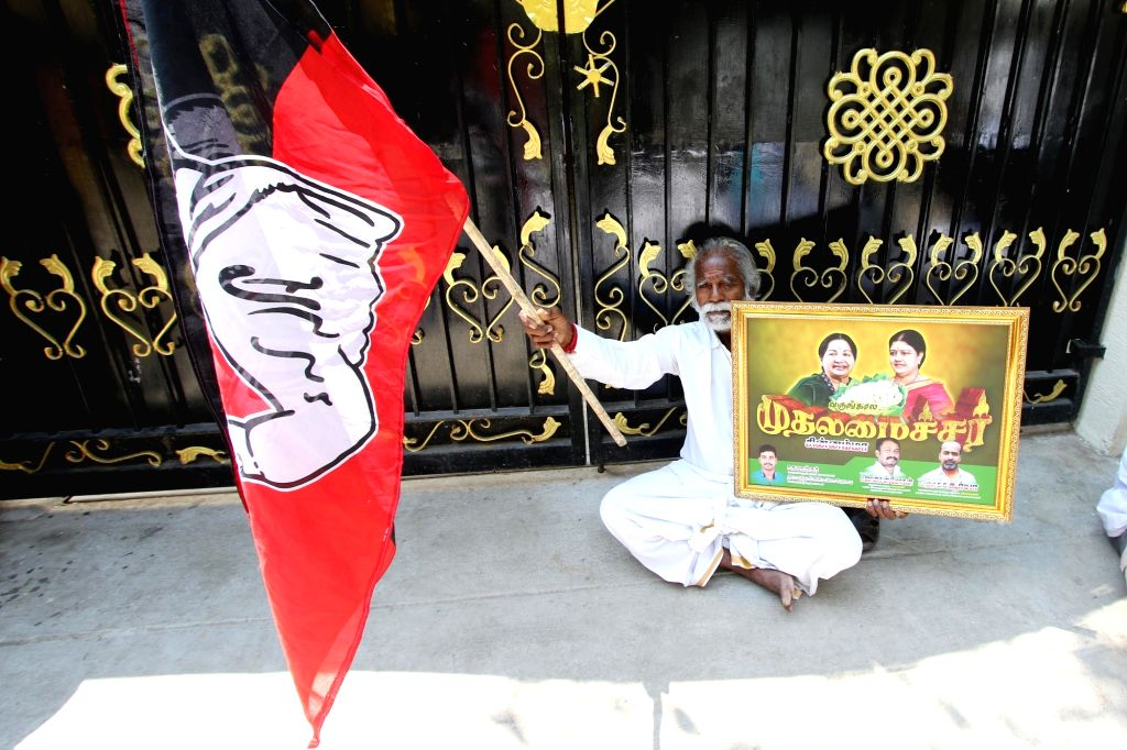 Supporters of V.K. Sasikala protested in front of her house in chennai after her statement of quitting politics on Thursday 04th March, 2021.