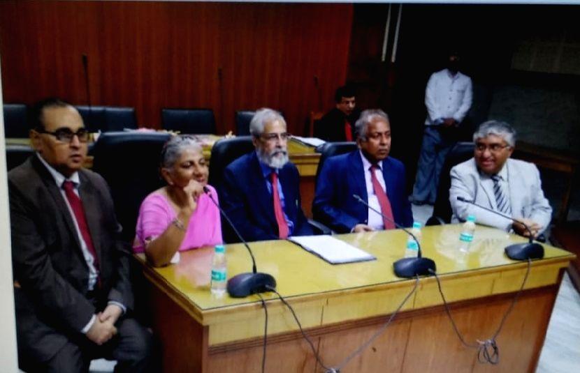 Supreme Court Judge Justice Madan Lokur, Chief Justice of the Calcutta High Court Jyotirmay Bhattacharya and Calcutta High Court Judges Nadira Patherya, Sambuddha Chakrabarti and Soumen Sen ...