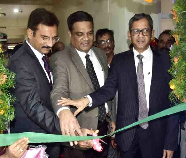 Supreme Court Judge Justice NV Ramana inaugurates City Civil Court complex Phase-2 in Hyderabad on July 28, 2019. Also seen Supreme Court Justice L. Nageswara Rao and Telangana High Court ... - L. Nageswara Rao and Raghvendra Singh Chauhan