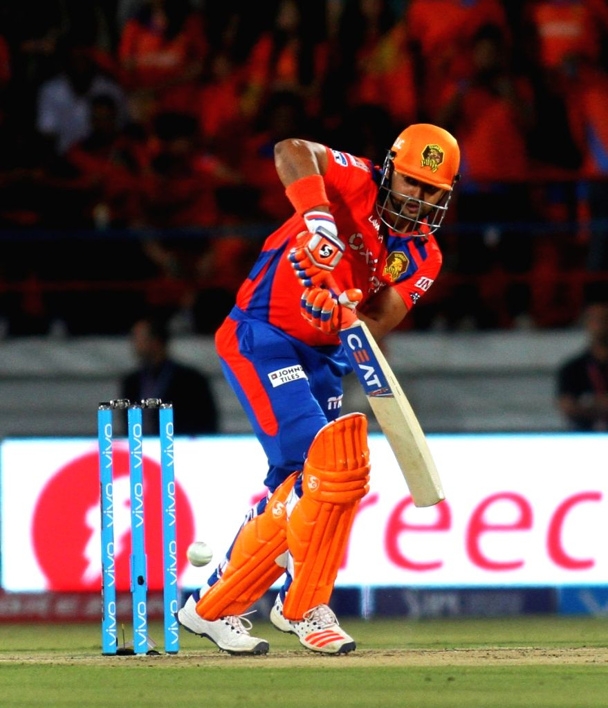 Suresh Raina of Gujarat Lions in action during an IPL match between Gujarat Lions and Sunrisers Hyderabad at Saurashtra Cricket Association Stadium in Rajkot on April 21, 2016.