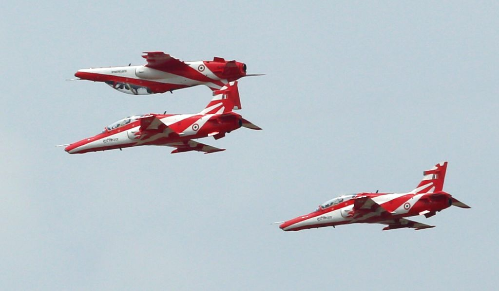 Surya Kiran Aerobatic team of Indian Air Force perform during Combined Graduation Parade at Air Force Academy at Dundigal in Hyderabad on June 17, 2017.
