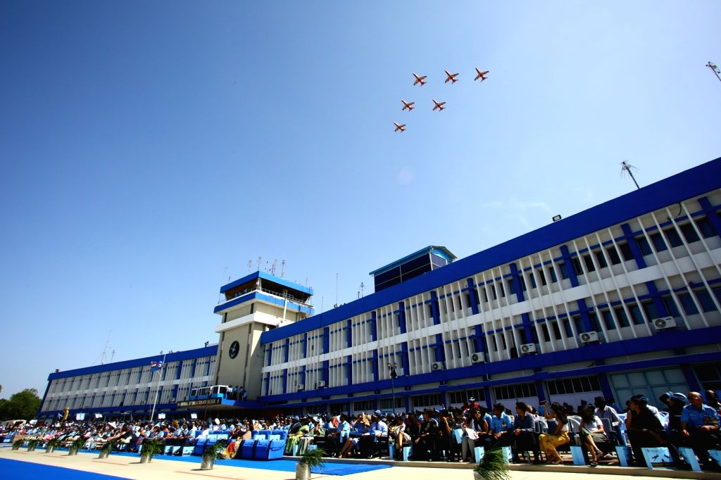 Surya Kiran Aerobatic team perform at Combined Graduation parade held at Air Force Academy, Dundigal, Hyderabad on 15 Jun 2019.