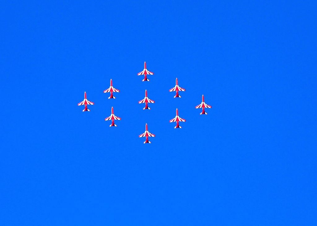 Surya Kiran aircrafts display maneuvers during the 87th anniversary celebrations of the Indian Air Force (IAF) at Hindon Air Force Station in Ghaziabad, on Oct 8, 2019.