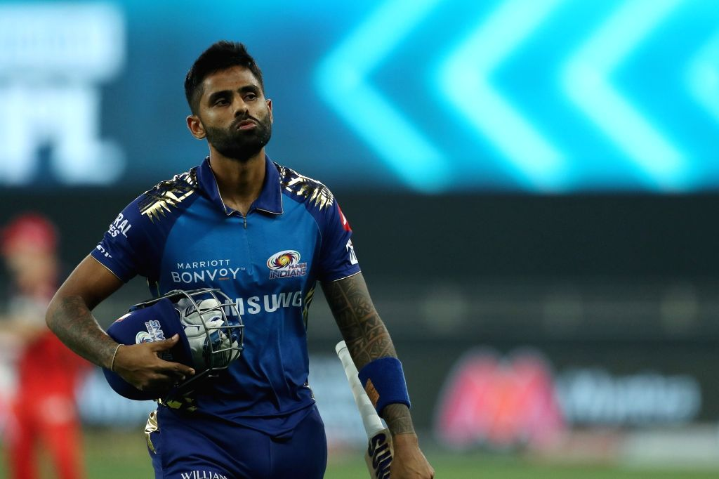 Surya Kumar Yadav of Mumbai Indians departs during match 10 of season 13 of the Dream 11 Indian Premier League (IPL) between The Royal Challengers Bangalore and The Mumbai Indians held at the ... - Kumar Yadav