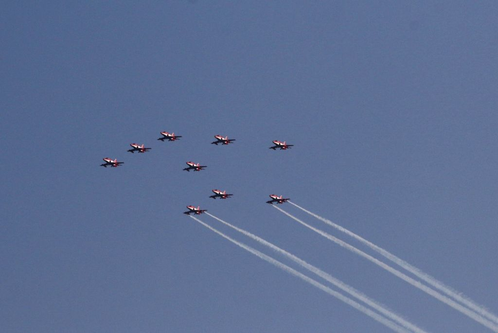 Suryakiran Aerobatic Team flypast at Chennai Marina Beach in commemoration of 50years of Indo Pak 1971 war victory on Tuesday 23rd February, 2021.