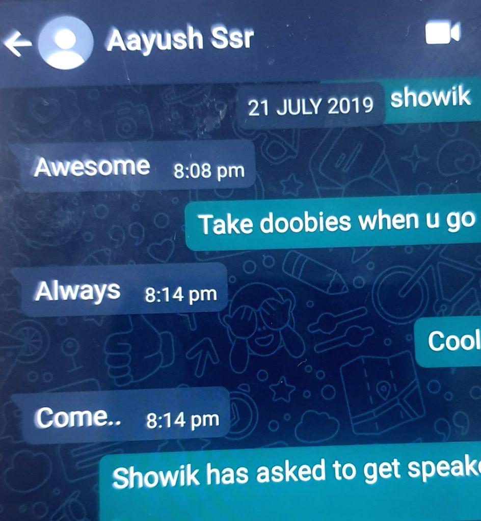 Sushant's sister leaks chat where Rhea, Showik, Samuel Miranda, Siddharth Pithani talk 'doobie', 'blueberry kush