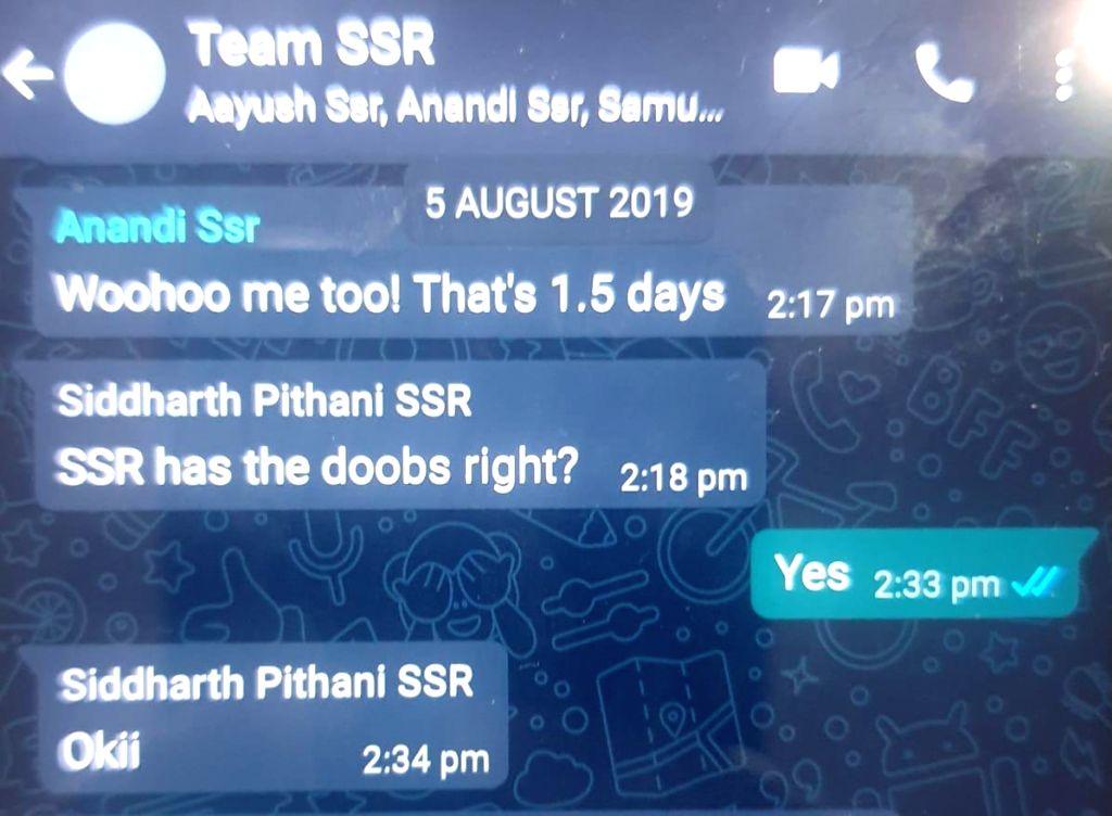 Sushant's sister leaks chat where Rhea, Showik, Samuel Miranda, Siddharth Pithani talk 'doobie', 'blueberry kush'