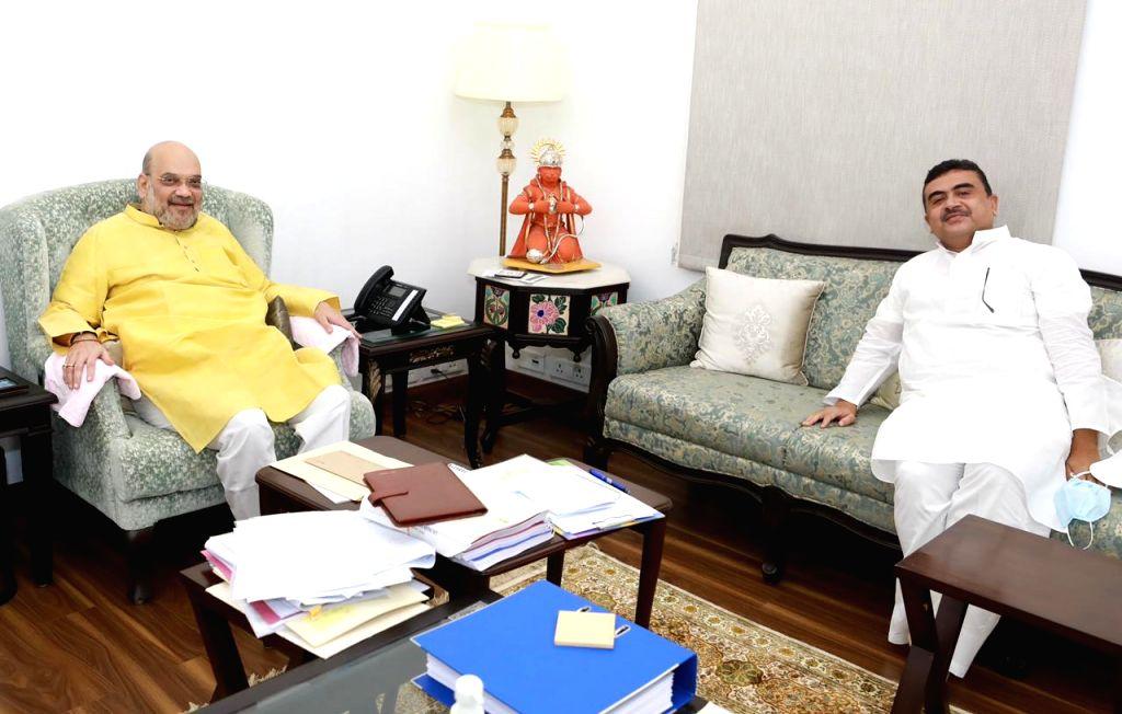 Suvendu Adhikari in Delhi to meet Amit Shah.(photo: Suvendu Adhikari twitter) - Amit Shah