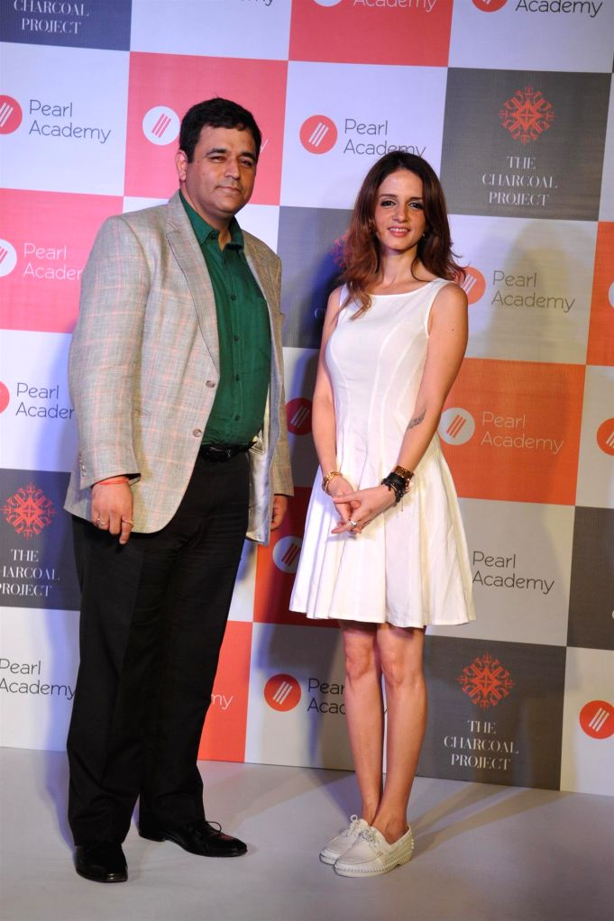 Suzanne Khan, ex wife of actor Hrithik Roshan and Sharad Mehra, CEO, Pearl Academy during the launch of Pearl Academy's Mumbai Campus, in Mumbai on April 15, 2014. - Hrithik Roshan and Suzanne Khan