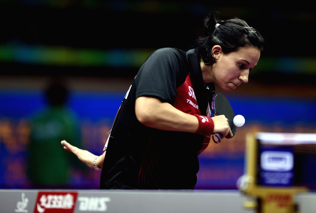 Serbia's Gabriela Feher competes against Japan's Fukuhara Ai during Women's Singles match at the 53rd Table Tennis World Championships in Suzhou, city of east ...