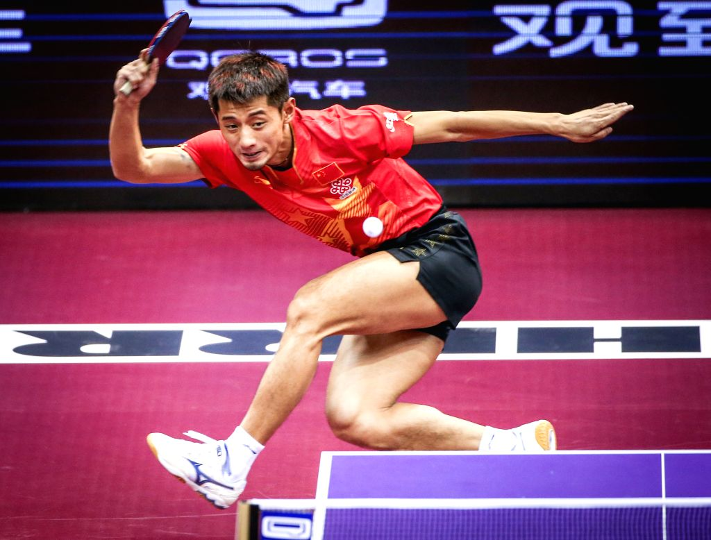 China's Zhang Jike competes during the Men's Singles match against South Korea's Seo Hyundeok at the 53rd Table Tennis World Championships in Suzhou, city of east ...