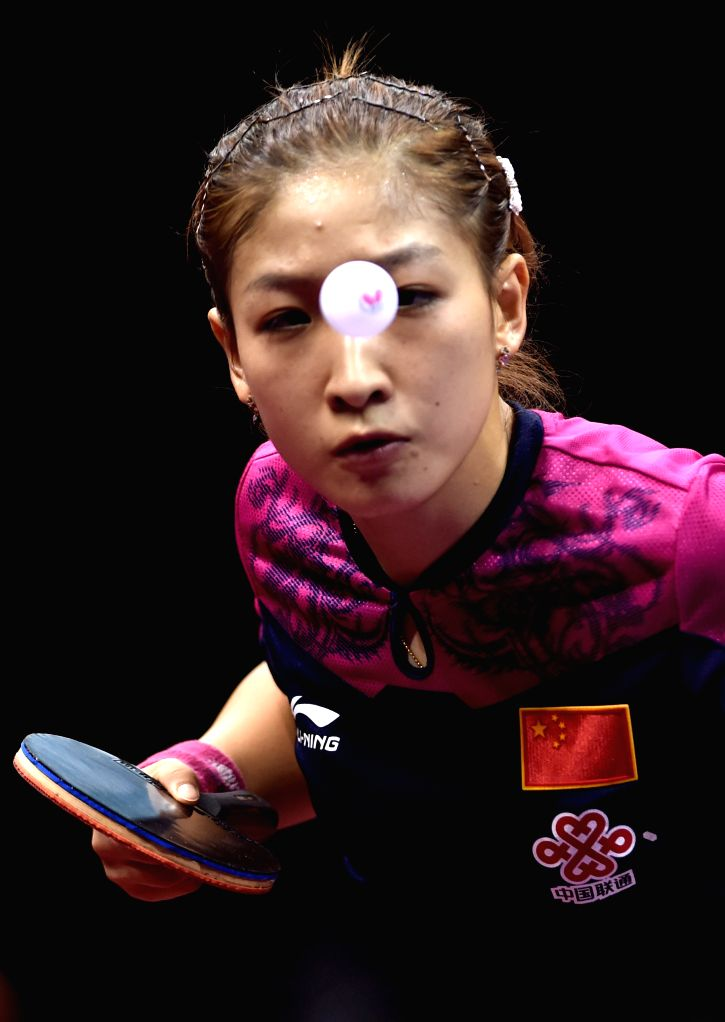 China's Liu Shiwen competes against South Korea's Yang Haeun during Women's Singles match at the 53rd Table Tennis World Championships in Suzhou, city of east China's ...
