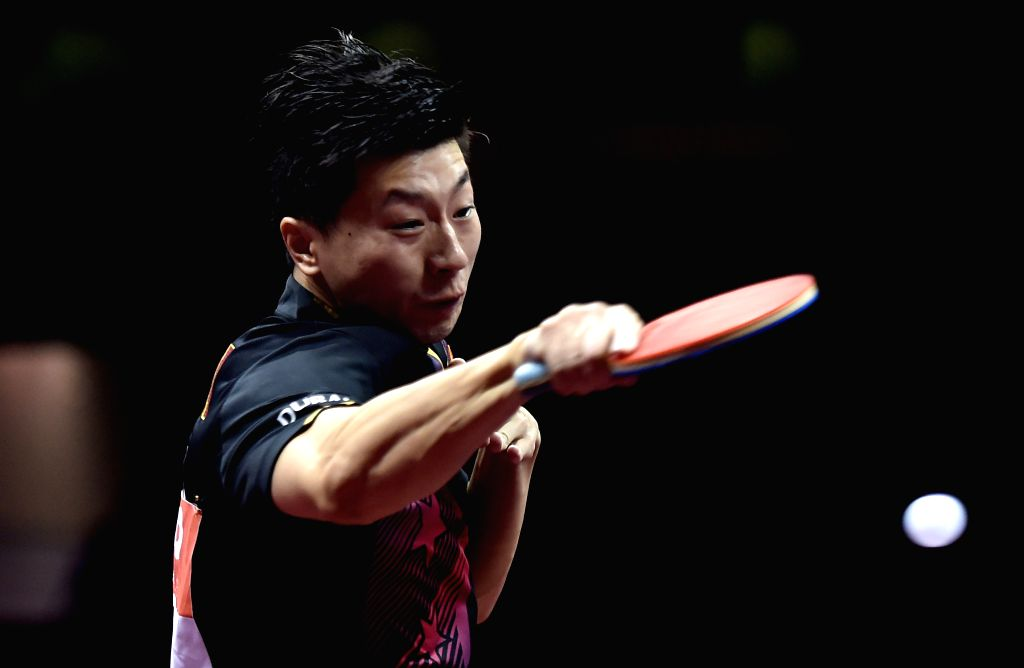 China's Ma Long competes against South Korea's Joo Saehyuk during Men's Singles match at the 53rd Table Tennis World Championships in Suzhou, city of east China's ...