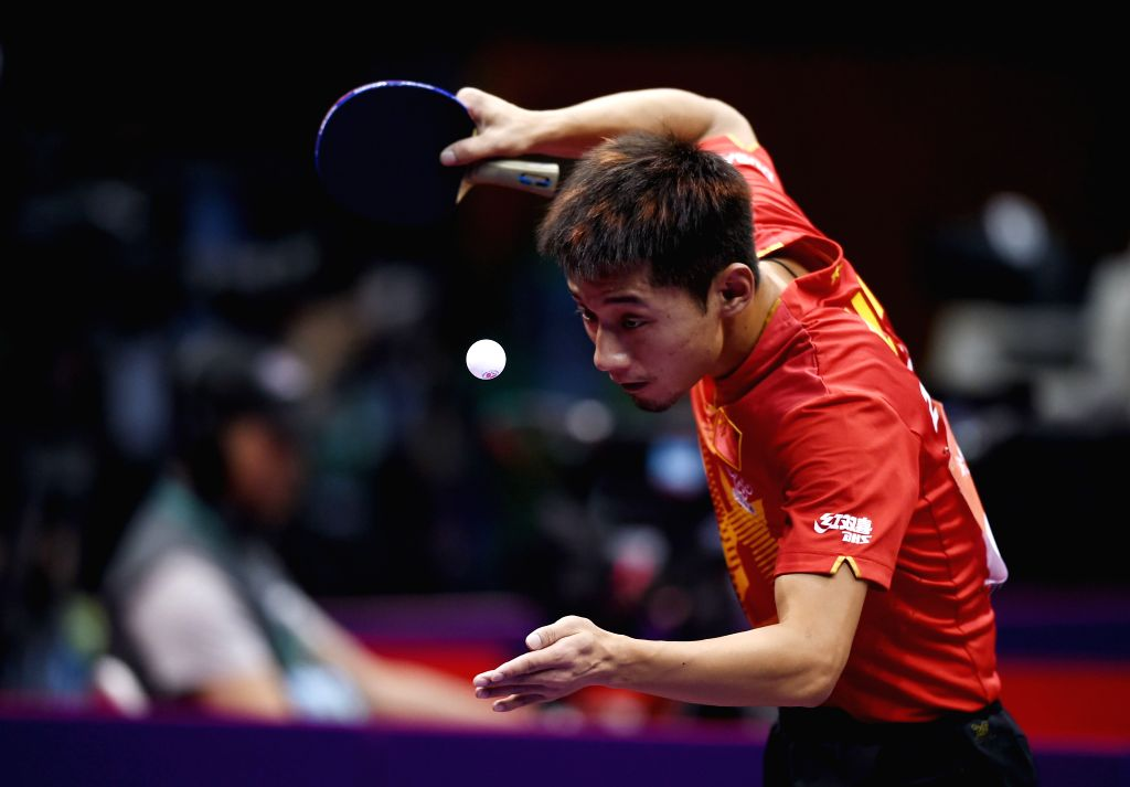 China's Zhang Jike competes against Belarus' Vladimir Samsonov during Men's Singles match at the 53rd Table Tennis World Championships in Suzhou, city of east China's ...