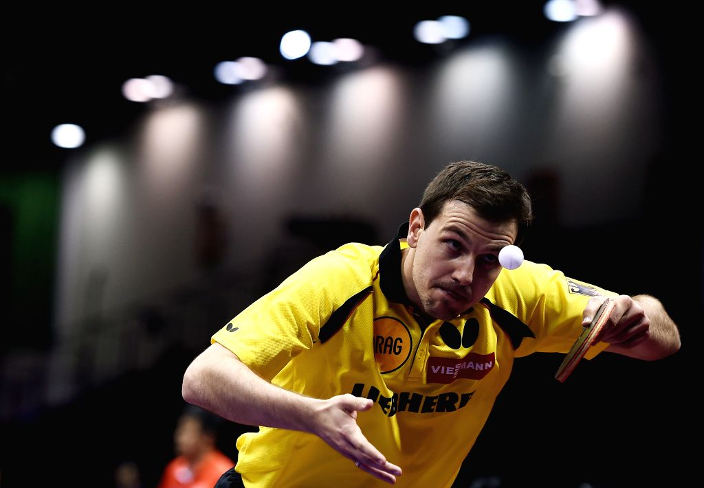 Germany's Timo Boll competes during the men's singles match against Wong Chun Ting of Hong Kong China at the 53rd Table Tennis World Championships in Suzhou, city of ...