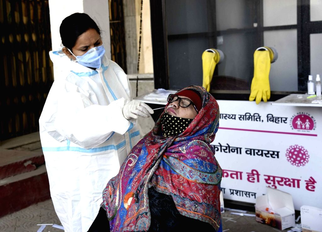 Swab samples being collected from people for COVD-19 testing at the New Gardiner Road Hospital, in Patna on Nov 24, 2020.