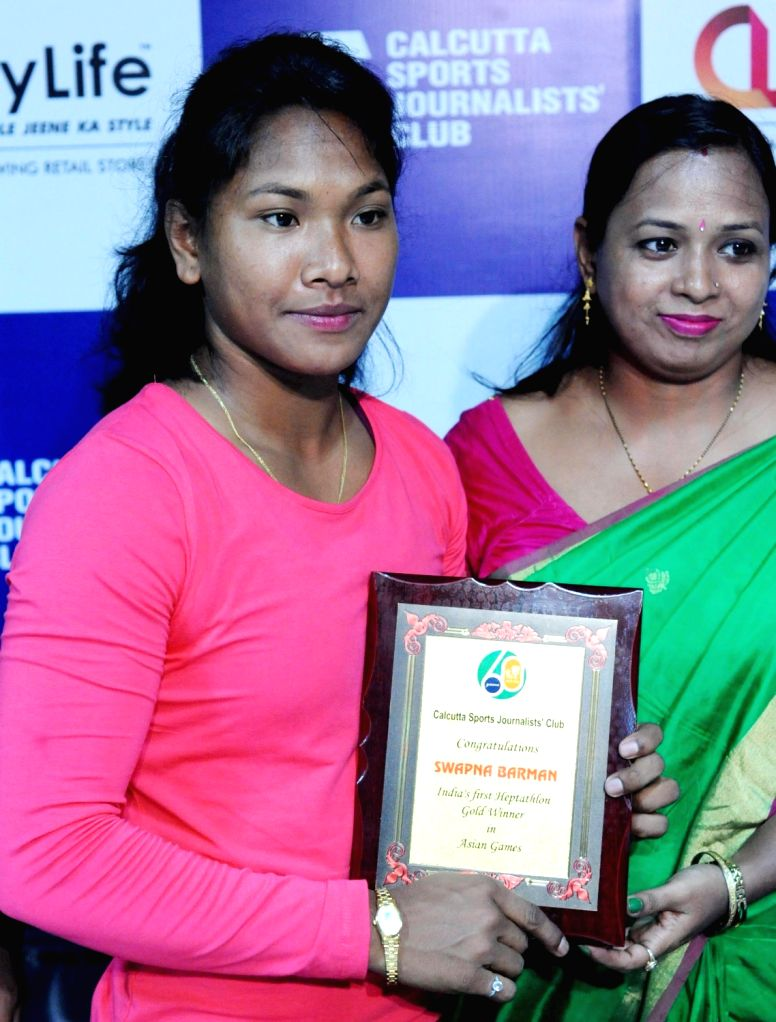 Swapna Barman, India's first-ever Asian Games gold medal winner in heptathlon, during a press conference, in Kolkata on Sept 12, 2018.